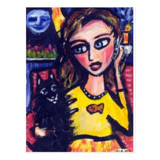 De omhelzingenvrouw van Schipperke op telefoon Briefkaart