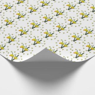 De Omslag van de gift - de bloesems van de Gele Inpakpapier