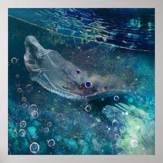 De OnderwaterMeermin van de Aura van de indigo Poster