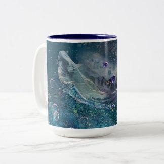 De OnderwaterMeermin van de Aura van de indigo Tweekleurige Koffiemok