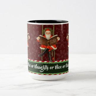 De ongehoorzame of Kerstman van Nice Tweekleurige Koffiemok