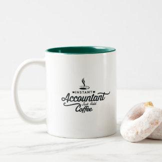 De onmiddellijke Accountant voegt enkel Koffie toe Tweekleurige Koffiemok