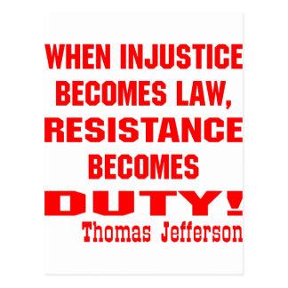 De onrechtvaardigheid wordt de Weerstand van de Briefkaart