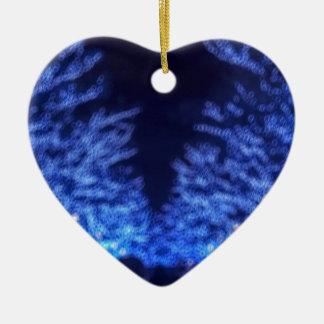 De onscherpe Verlichting van de Winter Keramisch Hart Ornament