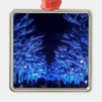 De onscherpe Verlichting van de Winter Zilverkleurig Vierkant Ornament