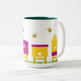 De ontwerpers overvallen met Zoete bijen Tweekleurige Koffiemok