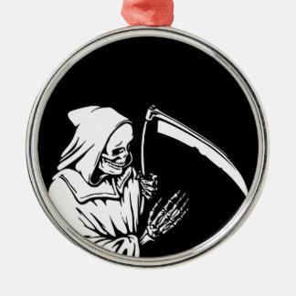 De onverbiddelijke Maaimachine of de Dood Zilverkleurig Rond Ornament