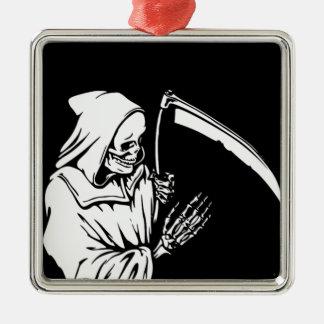 De onverbiddelijke Maaimachine of de Dood Zilverkleurig Vierkant Ornament