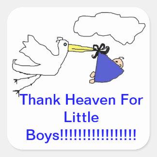 De ooievaar brengt de Jongen van het Baby Vierkant Stickers