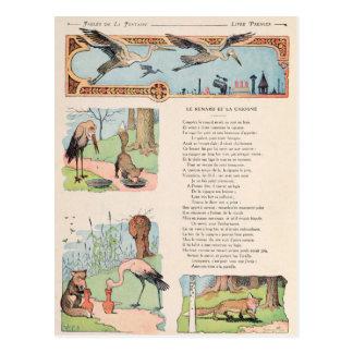 De ooievaar en de Vos van de Mythen Briefkaart