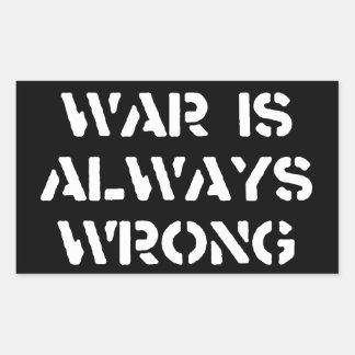 De oorlog is altijd Verkeerd Rechthoekige Sticker