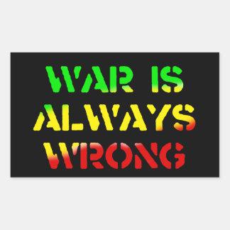 De oorlog is altijd Verkeerde Rasta Rechthoekige Sticker