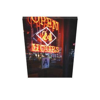 De open Diner van het Neon van 24 Uren Stad NYC Canvas Afdruk