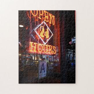 De open Diner van het Neon van 24 Uren Stad NYC Legpuzzel