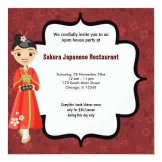 De Opendeurdag van sushi 13,3x13,3 Vierkante Uitnodiging Kaart