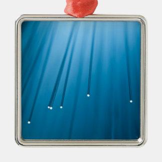 De optische samenvatting van de vezel zilverkleurig vierkant ornament