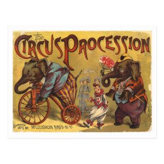 De Optocht van het Circus van de Olifanten van Briefkaart