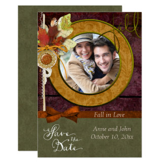 De opvallende Foto van het Huwelijk van de Herfst Kaart