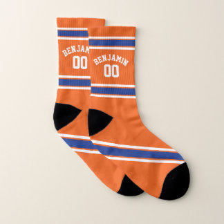De oranje en Blauwe Strepen van Jersey van Sporten Sokken