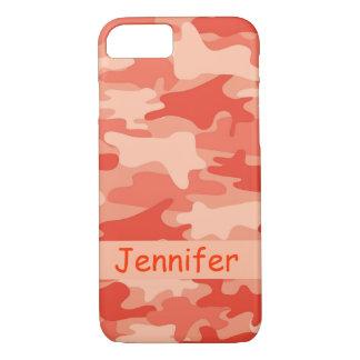 De oranje Gepersonaliseerde Naam van de Camouflage iPhone 8/7 Hoesje