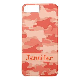 De oranje Gepersonaliseerde Naam van de Camouflage iPhone 8/7 Plus Hoesje