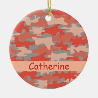 De oranje Grijze Gepersonaliseerde Naam van de Rond Keramisch Ornament