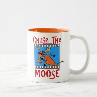 De oranje Jacht de Amerikaanse elanden overvalt Tweekleurige Koffiemok