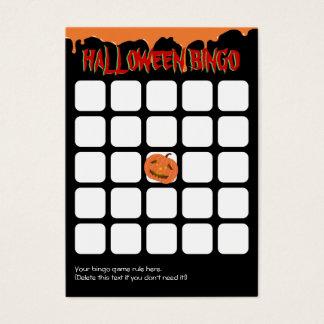 De oranje Kaart van Halloween Bingo van de Pompoen Visitekaartjes