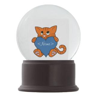 De Oranje Kat van de Valentijnsdag met Blauw Hart