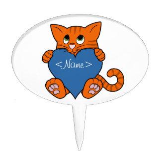 De Oranje Kat van de Valentijnsdag met Blauw Hart Cake Topper