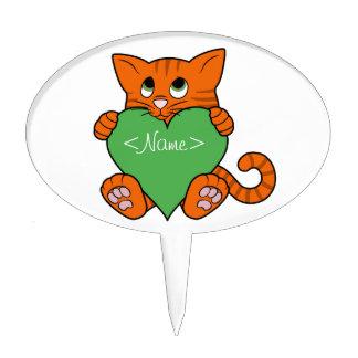 De Oranje Kat van de Valentijnsdag met Groen Hart Cake Topper