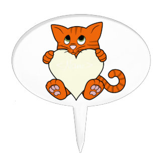 De Oranje Kat van de Valentijnsdag met het Hart Taart Prikker