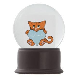De Oranje Kat van de Valentijnsdag met Lichtblauw