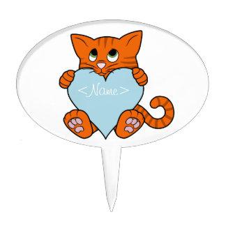 De Oranje Kat van de Valentijnsdag met Lichtblauw Taart Prikker