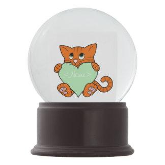 De Oranje Kat van de Valentijnsdag met Lichtgroen