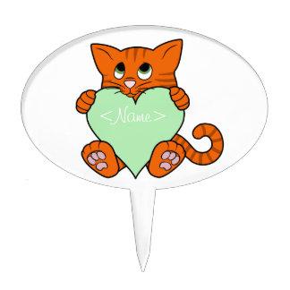 De Oranje Kat van de Valentijnsdag met Lichtgroen Cake Topper