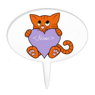 De Oranje Kat van de Valentijnsdag met Lichtpaars Taart Prikker