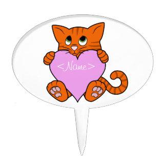 De Oranje Kat van de Valentijnsdag met Lichtrose Taart Prikker