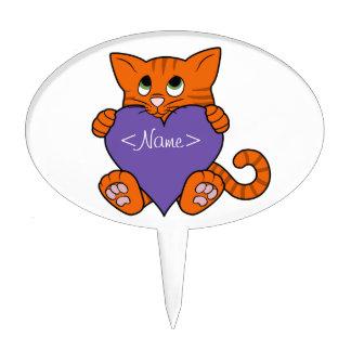 De Oranje Kat van de Valentijnsdag met Purple Taart Prikker