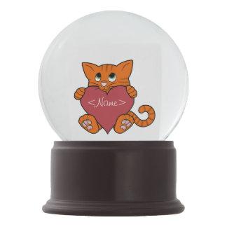 De Oranje Kat van de Valentijnsdag met Rood Hart