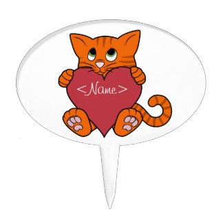 De Oranje Kat van de Valentijnsdag met Rood Hart Cake Topper