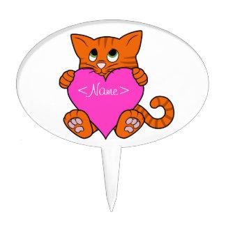 De Oranje Kat van de Valentijnsdag met Roze Hart Cake Topper