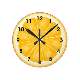 De oranje Plak van Citrusvruchten Ronde Klok Medium