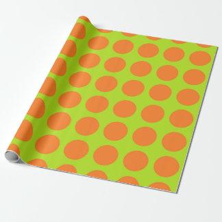 De oranje Stippen kalken Groen Inpakpapier