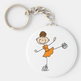 De oranje T-shirts en de Giften van de Schaatser v Basic Ronde Button Sleutelhanger