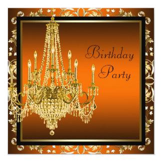 De oranje Zwarte Gouden Partij van de Verjaardag 13,3x13,3 Vierkante Uitnodiging Kaart
