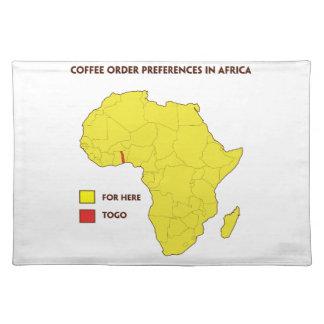 De ordevoorkeur van de koffie in Afrika Placemat