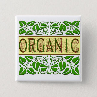De organische Groene Knoop van de Slogan Vierkante Button 5,1 Cm