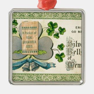 De originele St Patrick dag het vintage Iers trekt Zilverkleurig Vierkant Ornament
