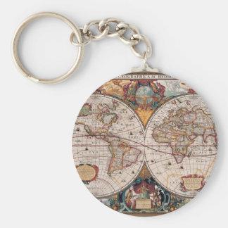 de originele Wereld Map1600s van de 17de Eeuw Basic Ronde Button Sleutelhanger